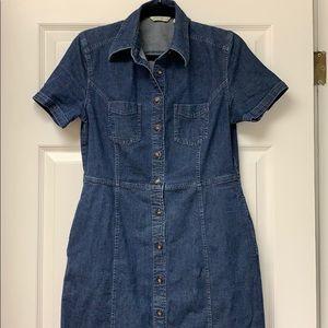 Eddie Bauer button denim dress with pockets